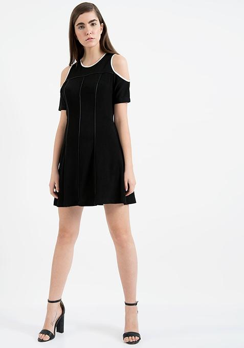 AlliaForFabAlley Cold Shoulder Dress - Black