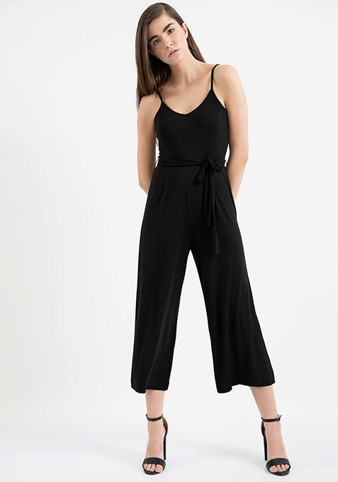 AlliaForFabAlley Belted Culotte Jumpsuit - Black