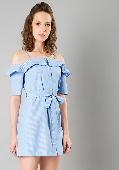 Strappy Cold Shoulder Dress - Blue Pinstripes