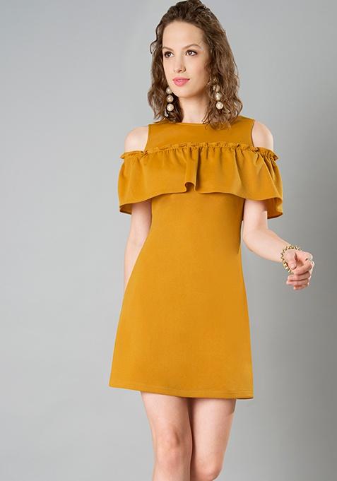 Front Ruffle Cold Shoulder Dress - Mustard