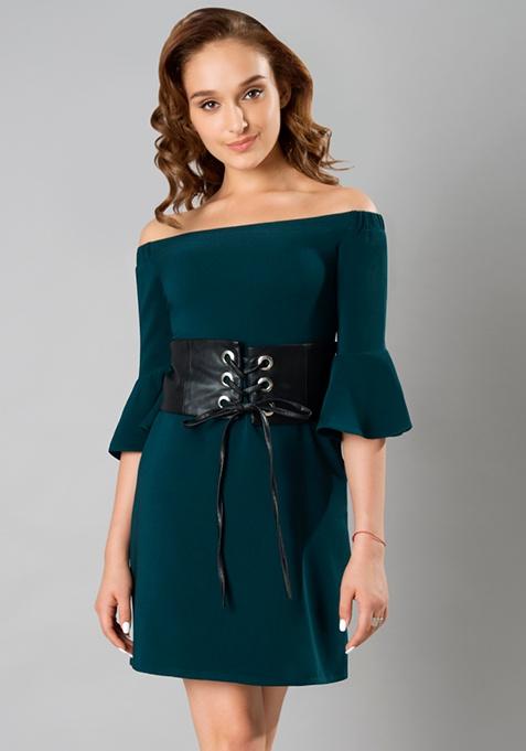Bardot Bell Sleeve Corset Dress - Green