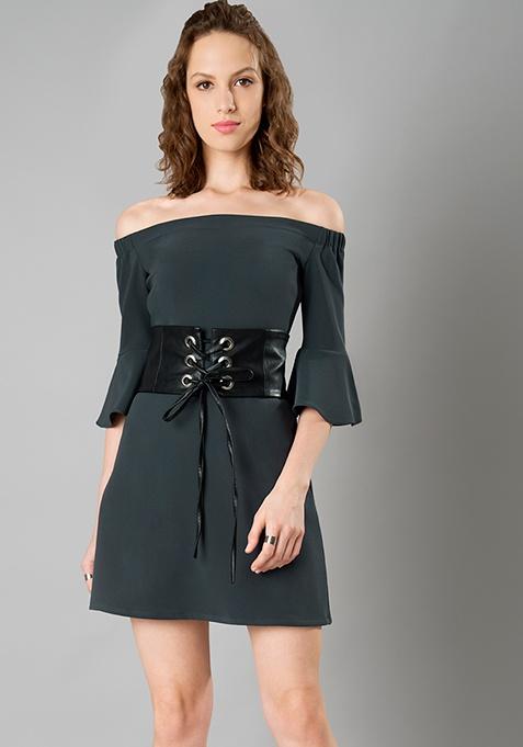 Bardot Bell Sleeve Corset Dress - Grey