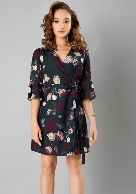 Wrap Around Dress - Black Floral