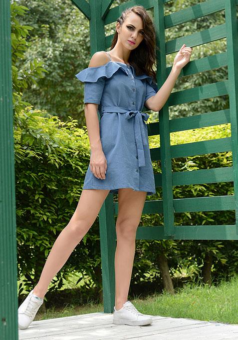 Strappy Cold Shoulder Dress - Denim