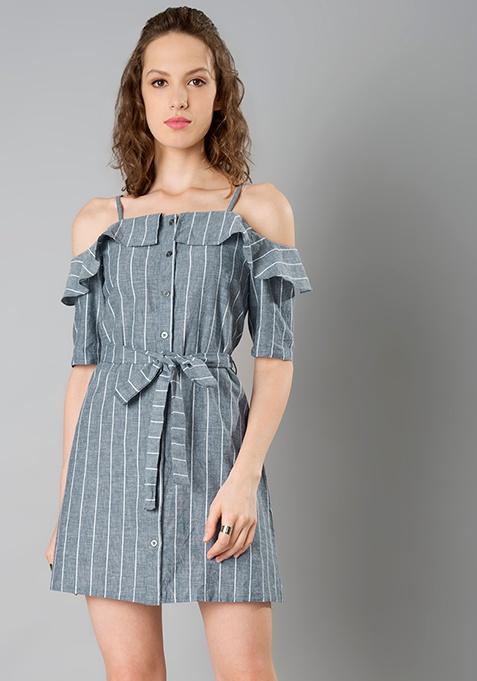 Strappy Cold Shoulder Dress - Grey Stripes
