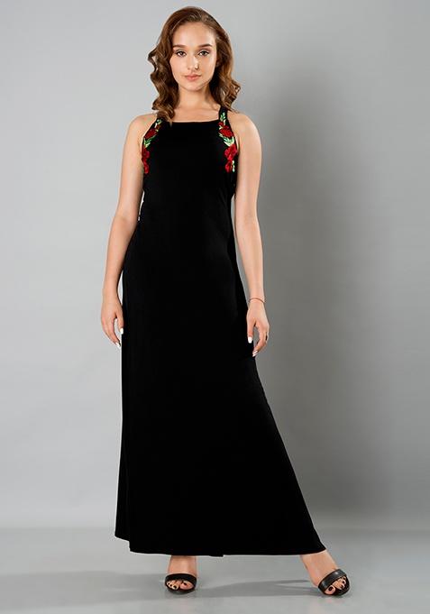 Embroidered Strappy Maxi Dress - Black