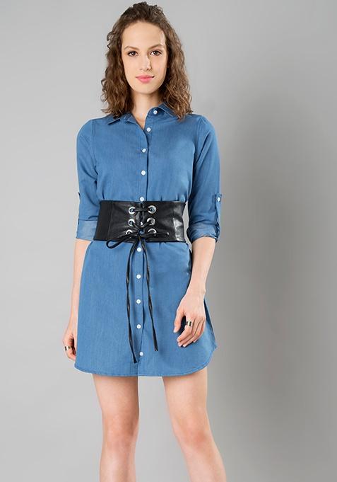 Denim Corset Shirt Dress