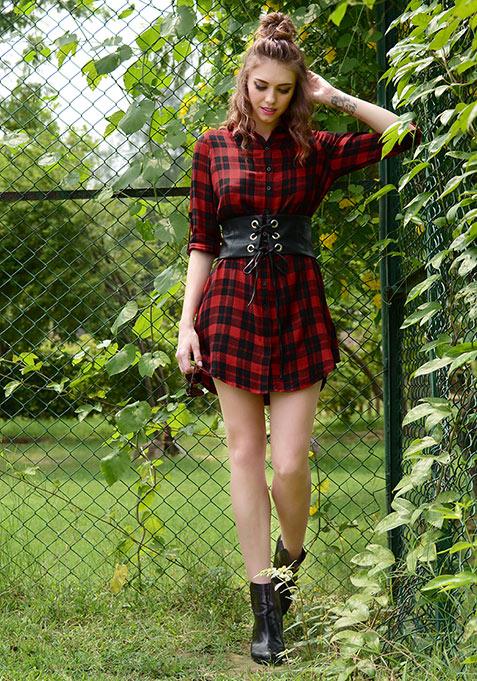 Red Tartan Corset Shirt Dress