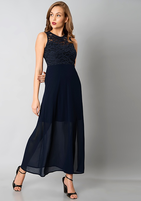 Scallop Lace Maxi Dress - Navy
