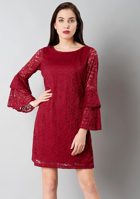 Double Bell Sleeve Lace Dress - Oxblood
