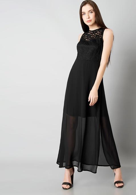 Black Lace Yoke Maxi Dress