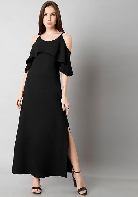 Black Ruffled Cold Shoulder Maxi Dress