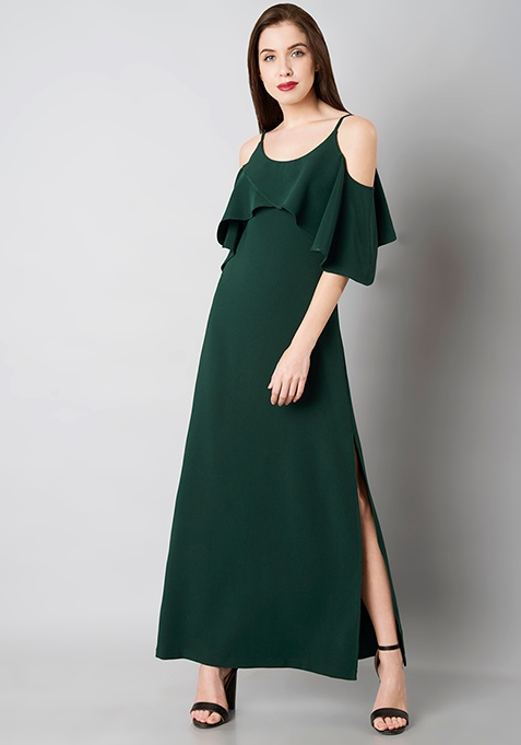 Green Ruffled Cold Shoulder Maxi Dress