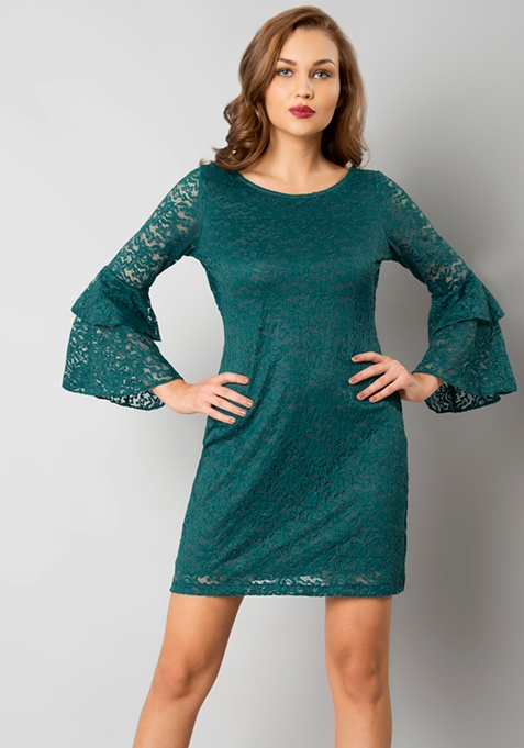 Bell Sleeve Lace Dress - Teal