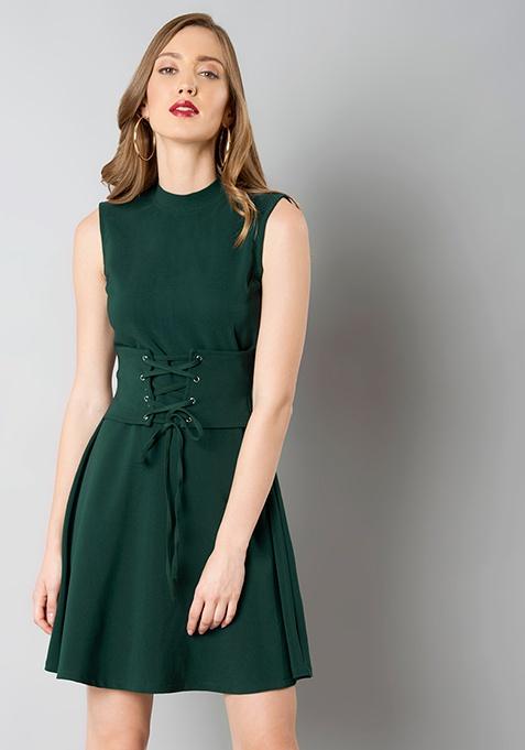 Green Corset Skater Dress