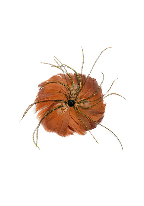 Brown Feather Hair Clip