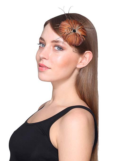 Brown Feather Hair Clip