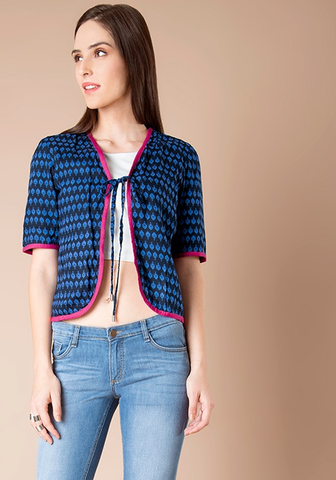 Cotton Jacket - Navy Abstract