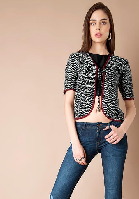 Cotton Jacket - Black Print