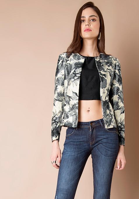 Floral Silk Jacket - Grey