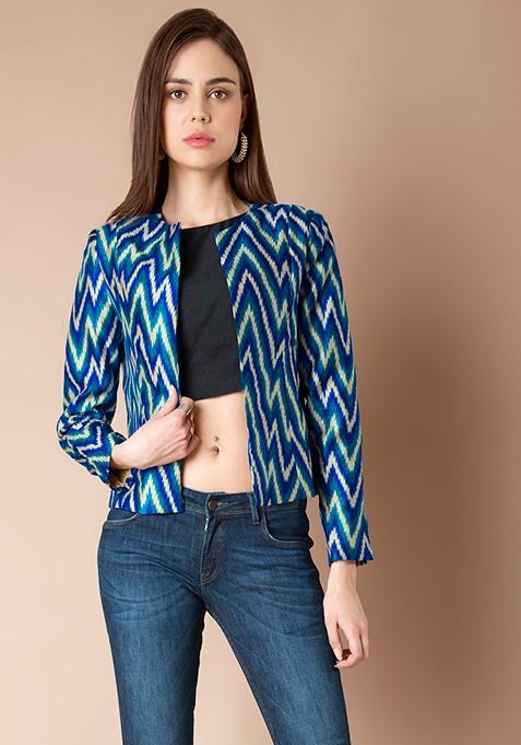 Floral Silk Jacket - Blue Chevron
