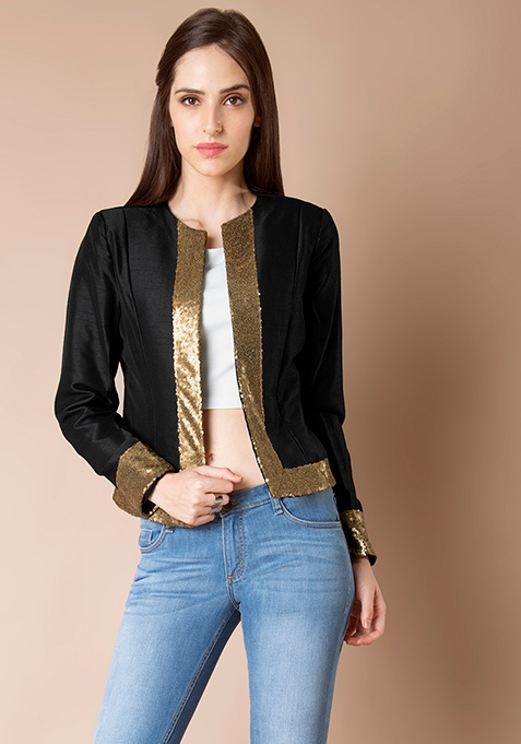 Sequin Border Silk Jacket - Black