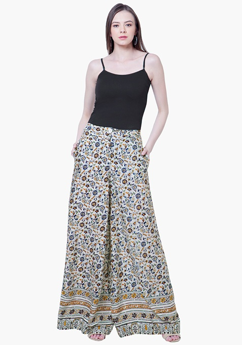 Flared Palazzo Pants - Spring Floral