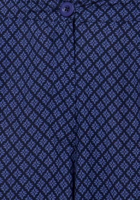 Flared Palazzo Pants - Geo Blue