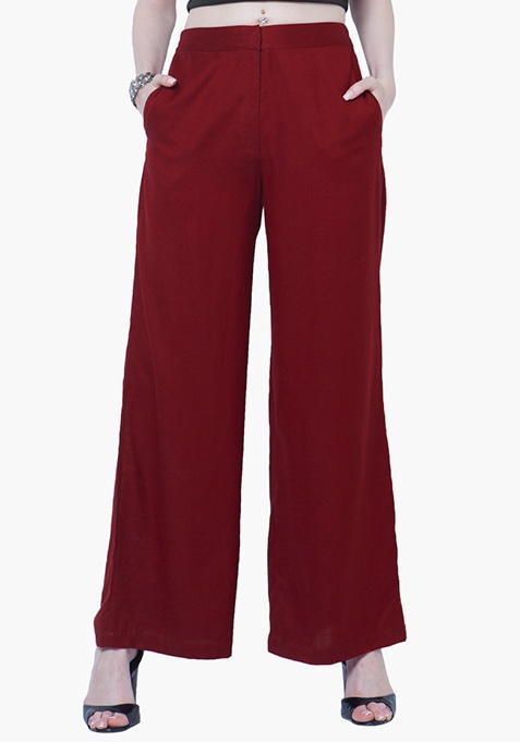 Straight Palazzo Trousers - Oxblood