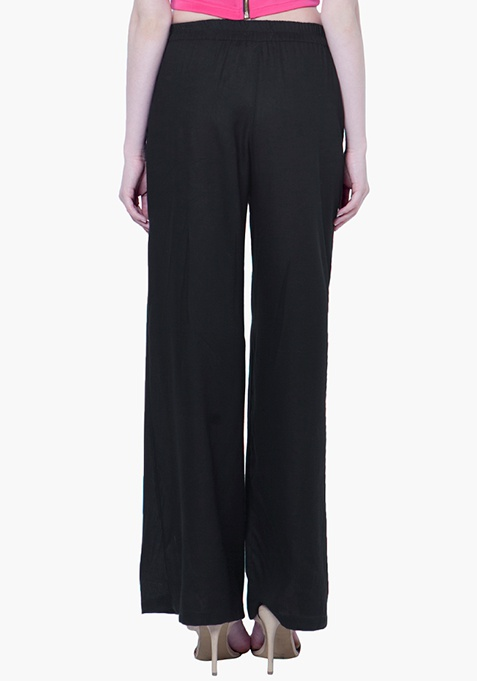 Straight Palazzo Trousers - Black