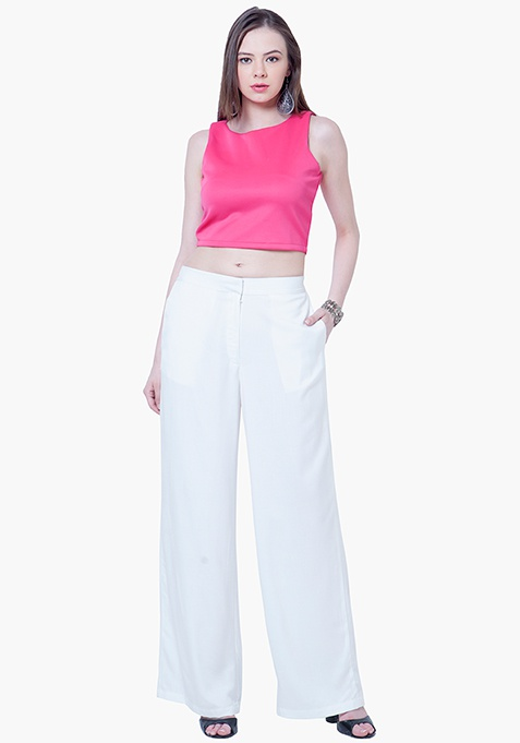 Straight Palazzo Trousers - White