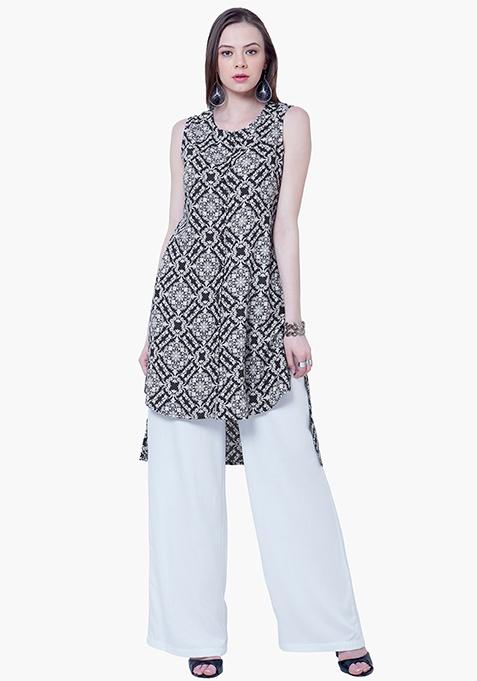 Straight Palazzo Trousers - White