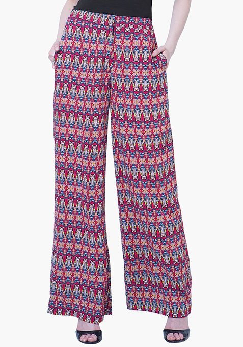 Straight Palazzo Trousers - Tribal