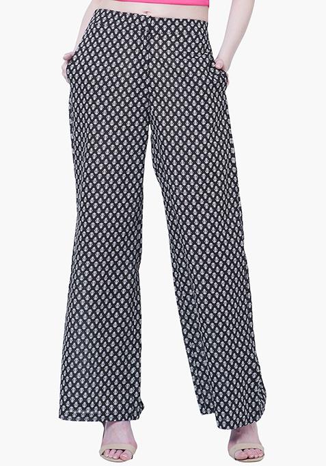 Straight Palazzo Trousers - Monochrome