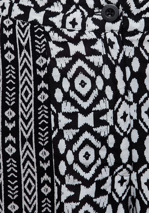 Dual Print Palazzos - Black White