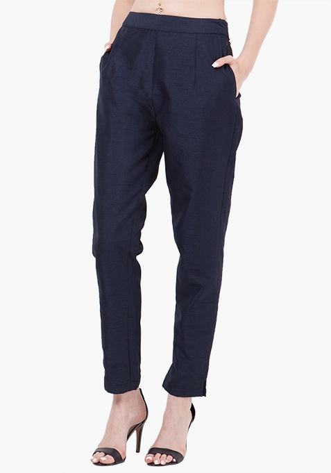 Silk Cigarette Pants - Navy