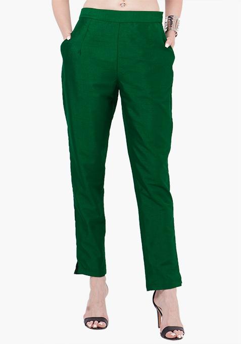 Silk Cigarette Pants - Green