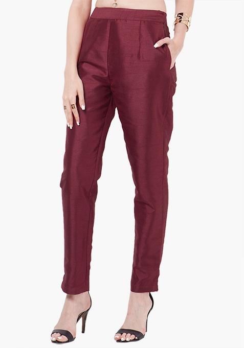 Silk Cigarette Pants - Oxblood