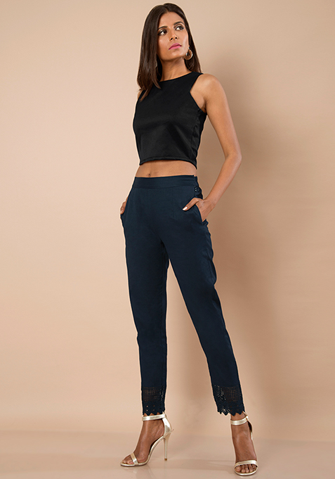 Lace Bottom Cigarette Pants - Navy