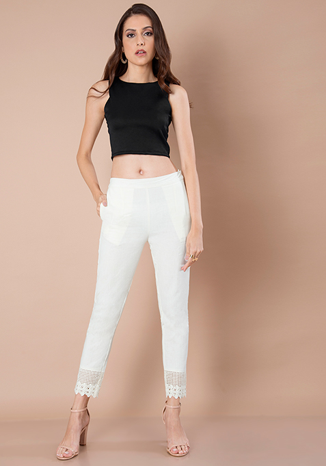 Lace Bottom Cigarette Pants - Ivory
