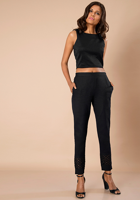 Lace Insert Cigarette Pants - Black
