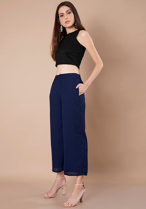 Ankle Length Palazzo Pants - Navy