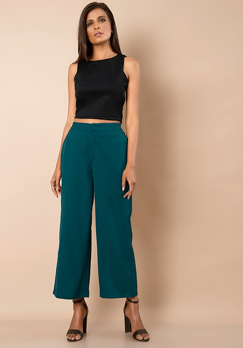 Ankle Length Palazzo Pants - Teal