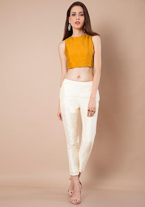 Ivory Silk Cigarette Pants