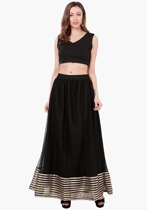 Striped Mesh Maxi Skirt - Black
