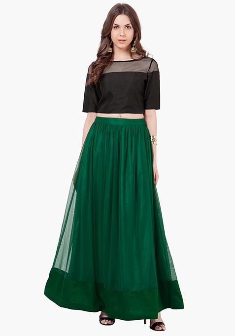 Mesh Alert Maxi Skirt - Green