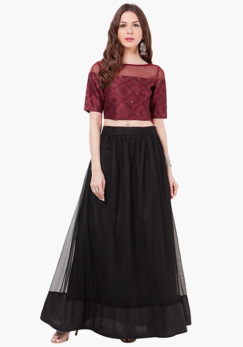 MESH ALERT MAXI SKIRT - BLACK By FabAlley @ Rs.1,600
