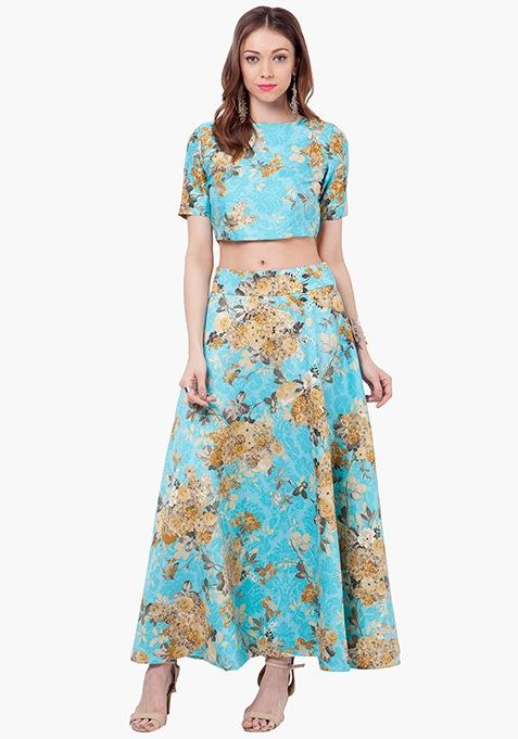 Floral Muse Silk Maxi Skirt - Aqua
