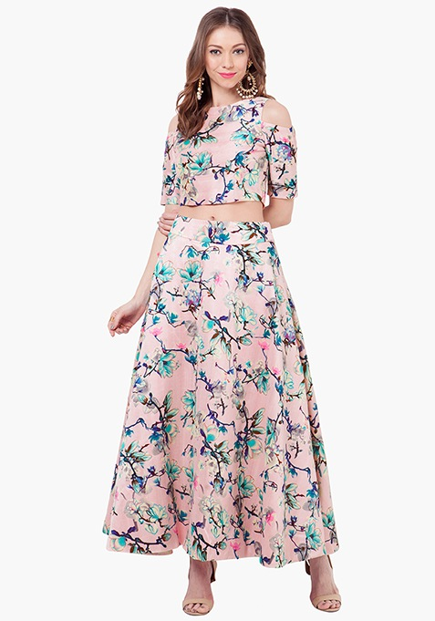 Pink Floral Silk Maxi Skirt