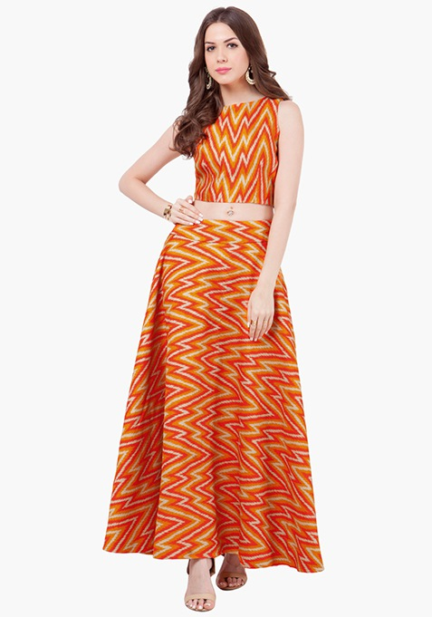 Chevron Cray Silk Maxi Skirt - Orange
